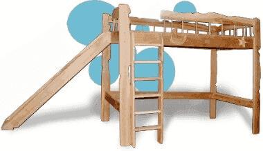 Двухъярусная кровать с горкой Пеппи 80x190
